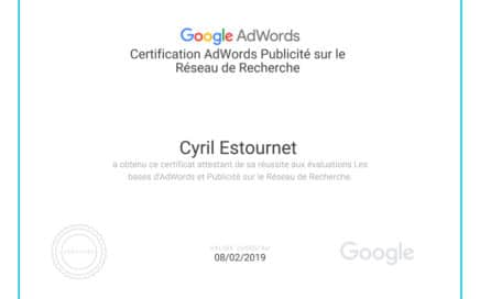 Image de la certification Google AdWords