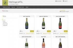 Capture d'écran réalisation pour champagne mehlinger
